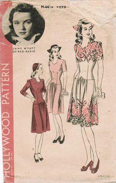 Vintage dress pattern 40s dress day print ad illustration floral red pink white hat shoes