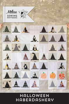 The Halloween Haberdashery Quilt is a fun Halloween quilt made using Witch Hat quilt blocks!The new, updated pattern now features additional instructions to also make Santa Hat Quilt Blocks! Halloween Quilt Patterns, Halloween Sewing Projects, Halloween Pillows, Halloween Quilts, Modern Halloween, Halloween Ideas, Halloween Crafts, Fall Halloween, Happy Halloween