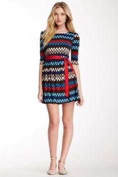 Printed Dress with Sash