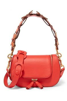 Red, burgundy and orange leather Two-way zip-fastening front flap Designer color: Geisha Comes with dust bag Weighs approximately 0.2lbs/ 0.1kg Made in Italy