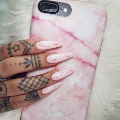 nail art designs | stiletto | pink | acrylic | gel | glitter | iphone case | #marble