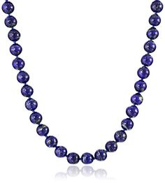"""Sterling Silver 8mm Lapis Lazuli Bead Necklace, 24"""" ** Find out more about the great product at the image link."""