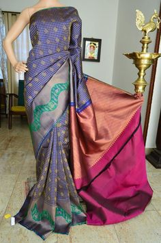 Blue checks pure silk pure zari kanchivaram silk saree with peacock zari design on full body and majanta zari rich pallu. Kanchipuram Saree, Pink Saree, Pure Silk Sarees, Blue Check, Durga, Saree Collection, Indian Sarees, Full Body, Blouse Designs