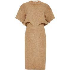 Rosetta Getty Fluid Wool Melton Interlock Torqued T-Shirt Dress (3.160 BRL) ❤ liked on Polyvore featuring dresses, crew neck dress, short sleeve dress, loose fitting t shirt dress, wool sheath dress and loose t shirt dress