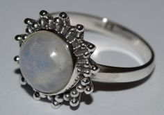 925 Sterling Silver Ethnic 10mm Round Moonstone Ring - Radiant Moon