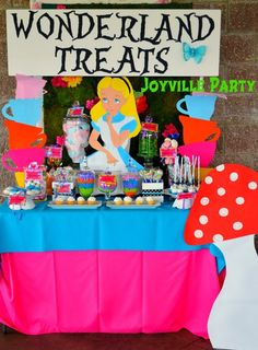 Yummy treats at an Alice in Wonderland Party. See more party ideas at CatchMyParty.com. #aliceinwonderland #partyideas