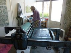 Marthe Armitage - Wallpaper -The blocks 'last for ever,' and she is still printing from them today. A hundred year old lithographic proofing press made things easier and the garage at the bottom of the garden became her studio.