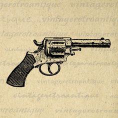 Antique Revolver Gun Printable Digital Download Pistol Graphic Illustration Image Vintage Clip Art for Transfers HQ 300dpi No.1474