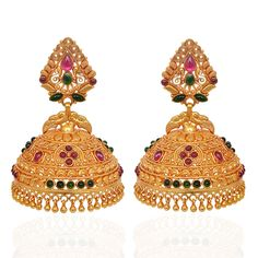 GRT Jewellers is one of the India's foremost jewellery store having an exquisite collection of jewellery in Gold, Diamond, Platinum and Silver created by the finest artisans of India. Also available exclusively in GRT Jewellers Online Jewellery Shopping. Diamond Earrings Indian, Gold Jhumka Earrings, Jewelry Design Earrings, Gold Earrings Designs, Gold Jewellery Design, Gold Jewelry, Indiana, Jewelry Patterns, Indian Jewelry
