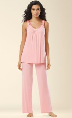 Midnight by Carole Hochman Braided Detail Pajama Set in Peach Nectar - available at soma.com! Slip into buttery bliss and sophisticated comfort. Sublimely soft knit pajama set with luxurious touches of satin and beautifully braided details. Sleepwear & Loungewear, Sleepwear Women, Nightwear, Night Suit, Night Gown, Lingerie, Night Pajama, Pajama Set, Comfortable Outfits