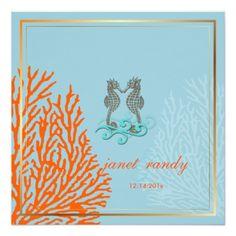 PixDezines vintage seahorse coral/diy background Invitations