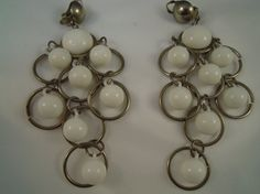 Chandelier Earrings White Balls Silver Tone by TallulahsVintage, $8.00