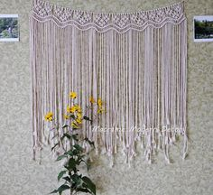 With this mesmerising macrame curtain youll add a bohemian vibe to your room. Modern macrame wall hanging for decorating your home, garden, studio, wedding or any other special event. Woven from 100% cotton cord, natural unbleached white color. Size: 115 cm x 125 cm (45 X 59)