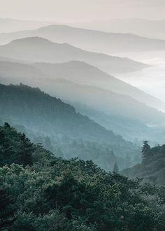 Heerlijke fotoposter van beboste bergen. De verschillende niveaus en kleurschakeringen van de boomto...