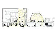 Gallery of Pilot IKC Zeeburgereiland / Studioninedots - 21 Typology Architecture, Section Drawing Architecture, Concept Models Architecture, Architecture Graphics, Chinese Architecture, Architecture Details, Halle, Building Section, Architectural Section