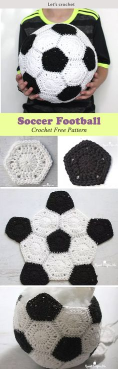 This Crochet Soccer Football Free Pattern is a very fun and simple soccer ball that's great for keeping in the house. Make one now with the free pattern provided by the link below the photo. Crochet Ball, Diy Crochet, Crochet Crafts, Crochet Toys Patterns, Baby Knitting Patterns, Crochet Stitches, Knitting Projects, Crochet Projects, Crochet Football