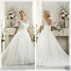White/Ivory Bride Plus size Ball gown Wedding Dress Bridal Gown Custom 12-26+