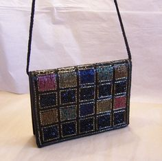 Multi Color Beaded Evening Bag Convertible Clutch by VintagEmpire