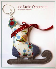 """Hi there, Jennifer Jangles here. I am excited to show you how to make this ice skate ornament today on the Thermoweb blog. Supplies: Printed Pattern Pieces 1/8 yard Skate Fabric 4"""" x 12"""" Gray wool ..."""