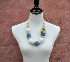 #Yellow #Blue White #Mom #Necklace #Teething by BellaHenryBoutique
