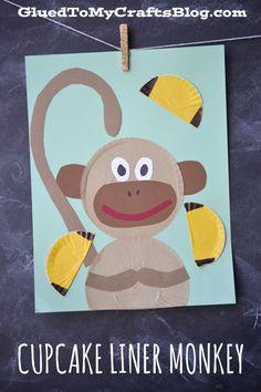 Cupcake Liner Monkey - Kid Craft - Glued To My Crafts