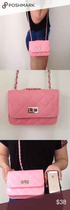 """Structured mini quilted cross body Pink mini quilted crossbody from unknown brand*. Fits most phones, small wallets. I believe it's polyurethane material . [measurements] length 7.5"""", height 5"""", width 2"""". Chain can be removed and is approx 23.5"""" long. like new condition - Never worn/used. I love questions - please ask all before purchasing. Bags Crossbody Bags"""