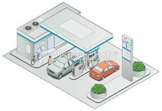 stock-illustration-19579990-isometric-petrol-station.jpg (380×261)