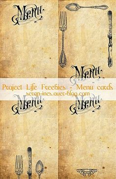 Free printable Project Life journaling cards : paper vintage menu. (Menu and cutlery patterns from the Graphic's Fairy) / Etiquettes gratuites à imprimer pour Project Life. // Download and enjoy at / A télécharger sur : scrap-ines.over-blog.com