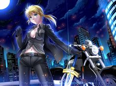 #BlondeHair, #Breasts, #City, #Cleavage, #Excalibur, #Fateseries, #Fatezero, #Formal, #Gloves, #GreenEyes, #MotorVehicle, #Motorcycle, #Navel, #Necktie, #OpenClothes, #OpenShirt, #Ponytail, #Saber, #Suit, #Vehicle, #Windtalker, #YamahaVmax