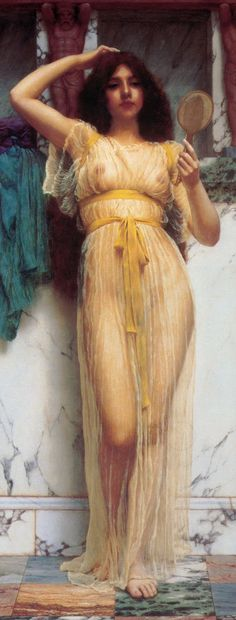 Girl with a Mirror - John William Godward
