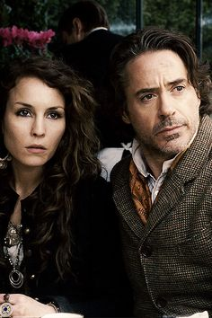 Noomi Rapace and Robert Downey Jr. in Sherlock Holmes: A Game of Shadows.