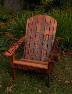 Items Similar To Portland Cedar Adirondack Chair Hand Painted On Etsy
