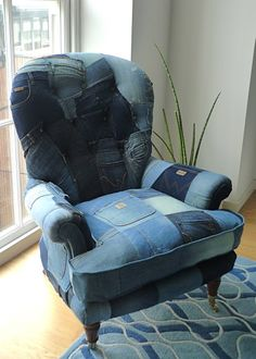 JO PRICE UPHOLSTERY + DESIGN: Our latest commission - denim chair made from patchworked recylced denim jeans