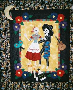 """""""Day of the Dead Fiesta"""" by Alicia Williams.  San Diego quilt show, 2005. Photo by Woof Nanny."""