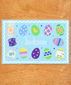 Loving this Blue Easter Egg Personalized Place Mat on #zulily! #zulilyfinds