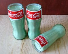 Soy candles in recycled bottles #Beer, #Bottle, #Candle, #Coke, #DIY