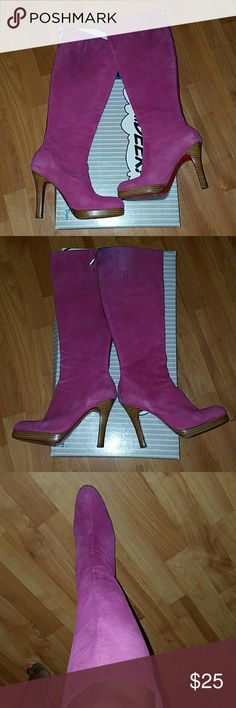 """Fushia suede genuine leather knee boots Oh Deer fushia pink knee high suede genuine leather boots. The boots have some faded areas due to wear and the suede material. Has some blue from wearing with dark blue jeans at the top of boot. But are sexy boots. Red bottom not CL 3"""" heels oh deer Shoes Over the Knee Boots"""