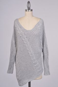 grey cable knit sweater #swoonboutique