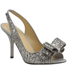 Silver womens couture shoes | ... Silver Glitter Peep Toe Pump at Footnotesonline Women's Designer Shoes