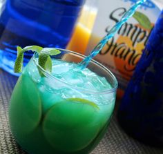 The Fat Turtle (1.5 oz Vodka .5 oz Blue Curacao Orange juice)