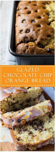 Glazed Chocolate Chip Orange Bread - Sweet, moist and tender orange bread studded with chocolate chips, and drizzled with an orange glaze!