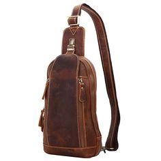 Leathario Mens Leather Sling bag Cross body Bag Chest Bag Sling Shoulder Backpack