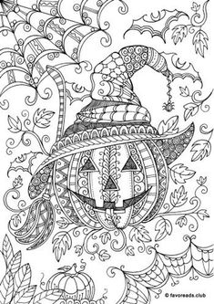 Pumpkin - Printable Adult Coloring Page from Favoreads (Coloring book pages for adults and kids, Coloring sheets, Coloring designs) - Coloring pages Free Halloween Coloring Pages, Fall Coloring Pages, Adult Coloring Book Pages, Printable Adult Coloring Pages, Mandala Coloring Pages, Coloring Pages To Print, Coloring Books, Fall Coloring Sheets, Free Coloring