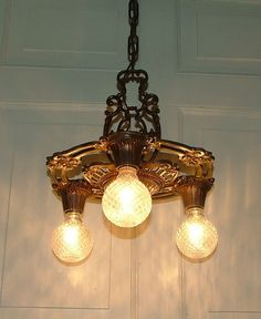 Vintage antique lighting, Art Deco Nouveau design influence, antique cast iron hanging ceiling lamp, light fixture by Markel Electric Company Lighting. 1930 antique Art Deco, Nouveau hanging ceiling light Fixture. Cast iron 3 socket light. If you are So You Want To Be A Picker? Online Course -CLICK ON THE PICTURE ABOVE ^