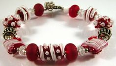 Red and White Delight - red and white lampwork artisan beads, cubic zirconia, and sterling silver