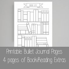 Extra Bullet Journal Pages - Book - Reading- A5 - A4 - US letter