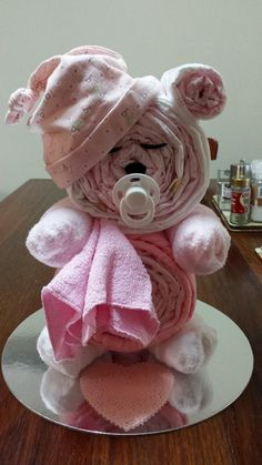 Sleepy Bear Diaper Cake...these are the BEST Baby Shower Ideas!