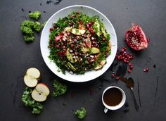 Christmas salad w. pomegranate, kale & apples. Great way to use kale!