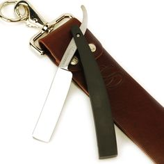 """""""Your Choice"""" American Made 2"""" Strop w/ D-Rings & Hart Steel 5/8 Polished, Square Point Straight Razor Heirloom Set"""