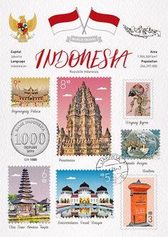 : *World Travel Poster Ramadhan, Indonesian Art, County Map, Travel Icon, Postcard Template, Travel Illustration, Color Card, Art And Architecture, Travel Posters